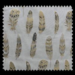 Tissu Plumes Ethniques Foil Or
