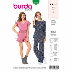 Patron Burda 6261 Pyjama Et Pyjashort