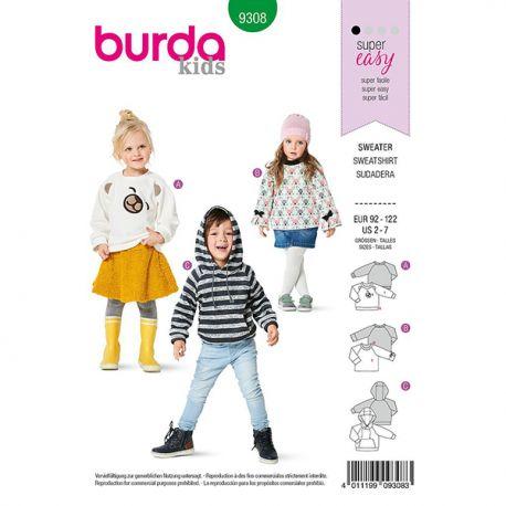 Patron Burda 9308 Sweat-shirt à Capuche