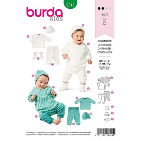 Patron Burda 9315 Bonnet, Pantalon Et Veste Sweat