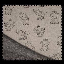 Tissu Polaire Mélange Imprimé Elephant Gris