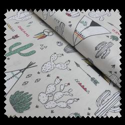 Tissu Chewonki Imprimé Sable et vert