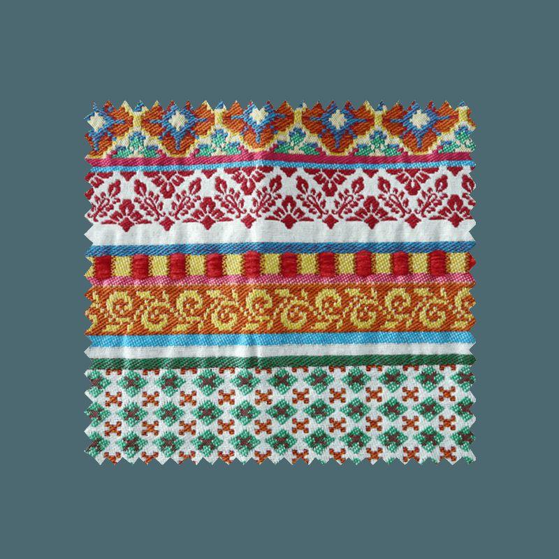 tissu jacquard caravane rayures bayad res rouges tissus. Black Bedroom Furniture Sets. Home Design Ideas