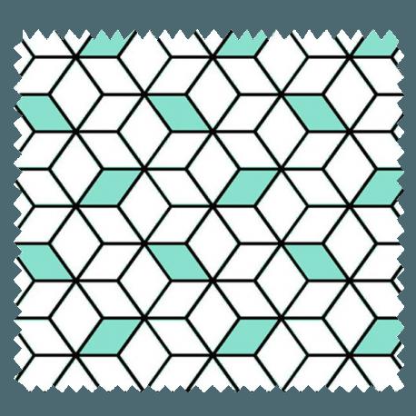 Tissu Imprimé Cube Mint