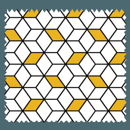 Tissu Imprimé Cube Jaune