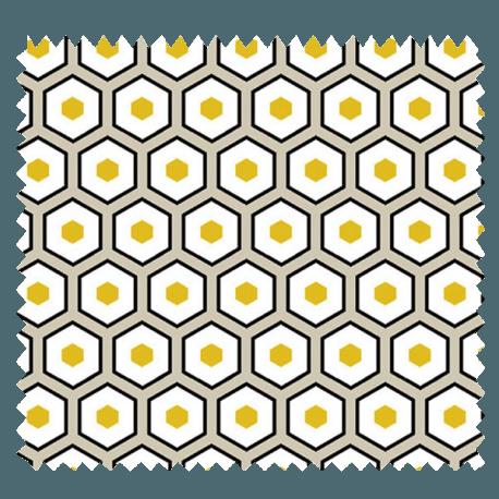 Tissu Imprimé Polygone Jaune