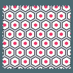 Tissu Imprimé Polygone Fraise