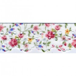Broderie anglaise imprimée fleurs