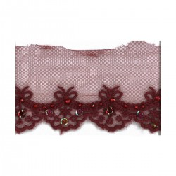 Broderie tulle strass paillettes