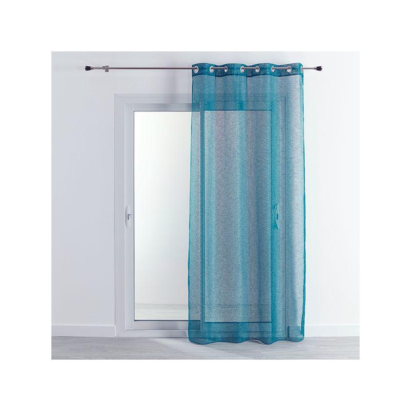 Tissu Voilage Etamine Uni Beluga Bleu Paon