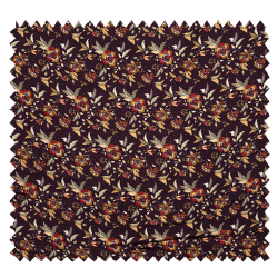 Tissu Viscose Imprimé Fleur Fond Aubergine