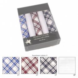 Coffret 5 Mouchoirs motifs écossais 40x40cm 100% coton