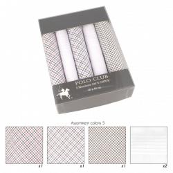 Coffret 5 Mouchoirs motifs petits carreaux 40x40cm 100% coton
