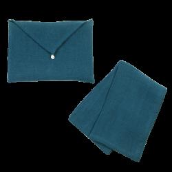 Torchon Lin Lavé Bleu et son enveloppe