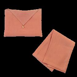 Torchon Lin Lavé Corail et son enveloppe