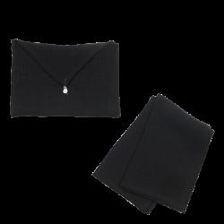 Torchon Lin Lavé Noir et son enveloppe