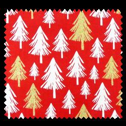 Tissu Coton Noël Imprimé Sapin Fond Rouge
