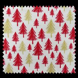 Tissu Coton Noël Imprimé Sapin Fond Ecru