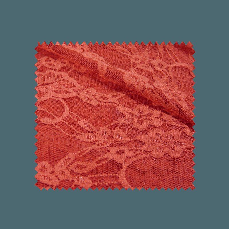 Tissu Dentelle Fleur Rouge