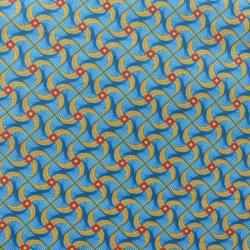 Tissu Kita Cretonne Bleu jaune