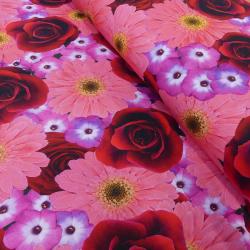 Tissu Digital Fleur Rose