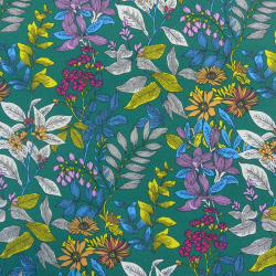 Coupon Tissu Glycine Imprimé vert 100 x 150 cm