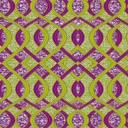 Tissu Super Wax Violet jaune vert