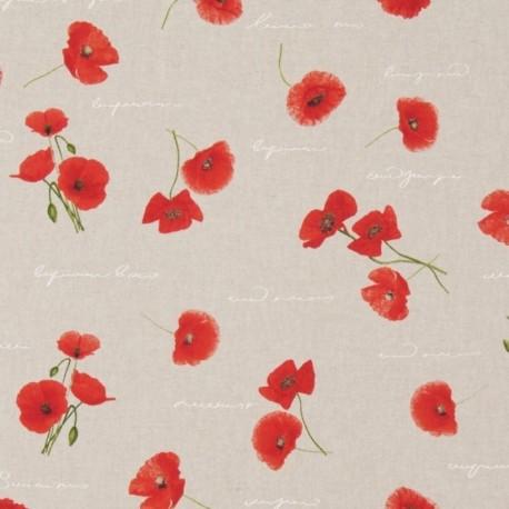 Tissu Toile Coquelicot Fond Coloris Lin