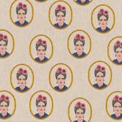 Tissu Toile Frida Kahlo Coloris Fond Lin