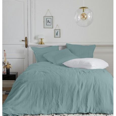 Parure de linge de lit en gaze de coton Olivia Aqua