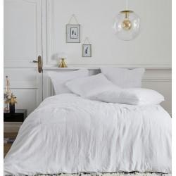 Parure de linge de lit en gaze de coton Olivia blanc