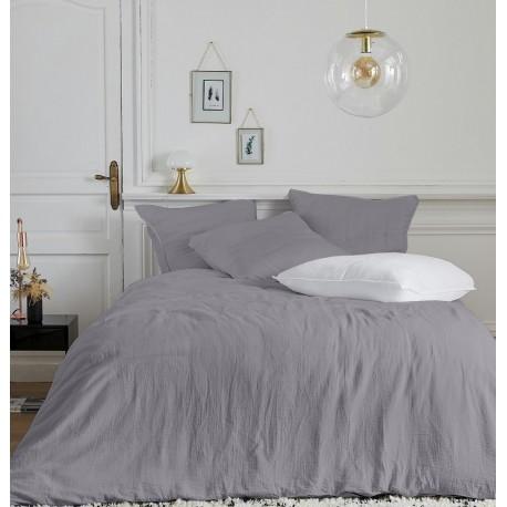 Parure de linge de lit en gaze de coton Olivia Gris