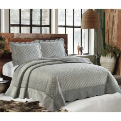 Couvre lit gris en velours Kayla