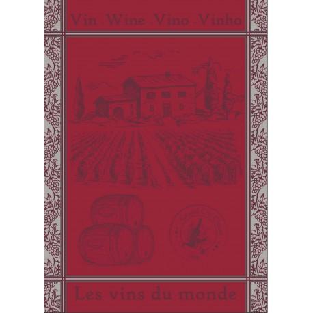 Torchon Jacquard Vin du Monde Rouge