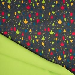 Tissu Soft Shell Reversible Confetti Gris