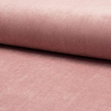Tissu Velours Milleraies Uni Vieux Rose