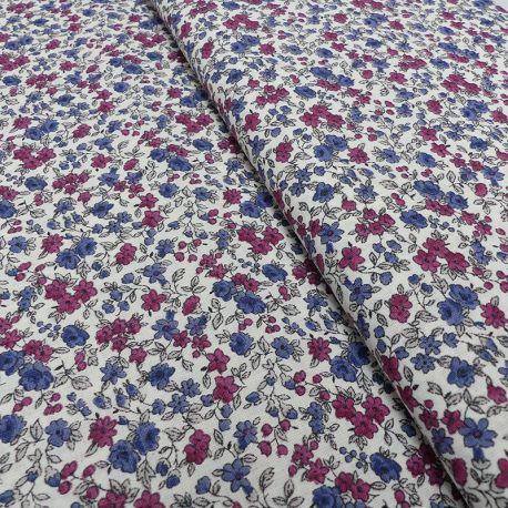 Tissu Leonie Cretonne Bleu et rouge