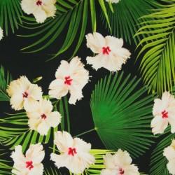 Tissu Digital Fleur Fond Noir