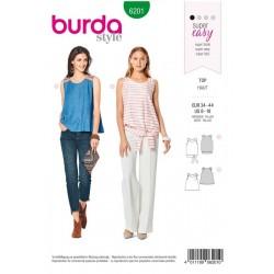 Patron Burda 6201 Young Top A Bretelles - Forme Evasee - Avec Ceinture Et Ruban