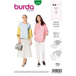 Patron Burda 6203 Young Sweatshirt - Ligne Trapeze - Avec un Assemblage Original