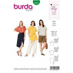 Patron Burda 6204 Young T-shirt Facon Blouse - Epaules Tombantes - Encolure En V