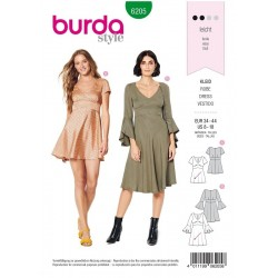 Patron Burda 6205 Young Robe A Parement Style Empire - Jupe Cloche