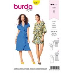 Patron Burda 6207 Young Robe Portefeuille Avec Des Rubans A Nouer - Volants D'ou