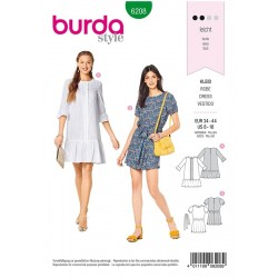 Patron Burda 6208 Young Robe - Forme Legere - Ruches D'ourlet