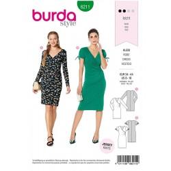 Patron Burda 6211 Robe A L'optique Croisée -très Moulante