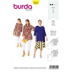 Patron Burda 6214 T-shirt - Forme Légère - Plis Dans Le Dos