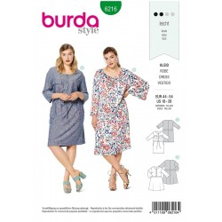 Patron Burda 6216 Robe avec une Fermeture Boutonnee à l'avant et un Parement de taille