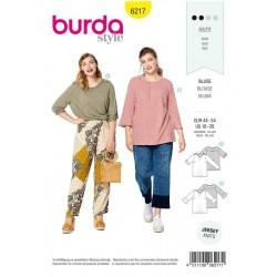 Patron Burda 6217 Tee-shirt - Manches à Retrousser - Manches avec des Volants