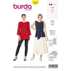 Patron Burda 6219 Blouse Sans Manche - Tunique Double Epaisseur - Liens à Nouer