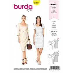 Patron Burda 6220 Robe - Robe Fourreau - Encolure Carrée
